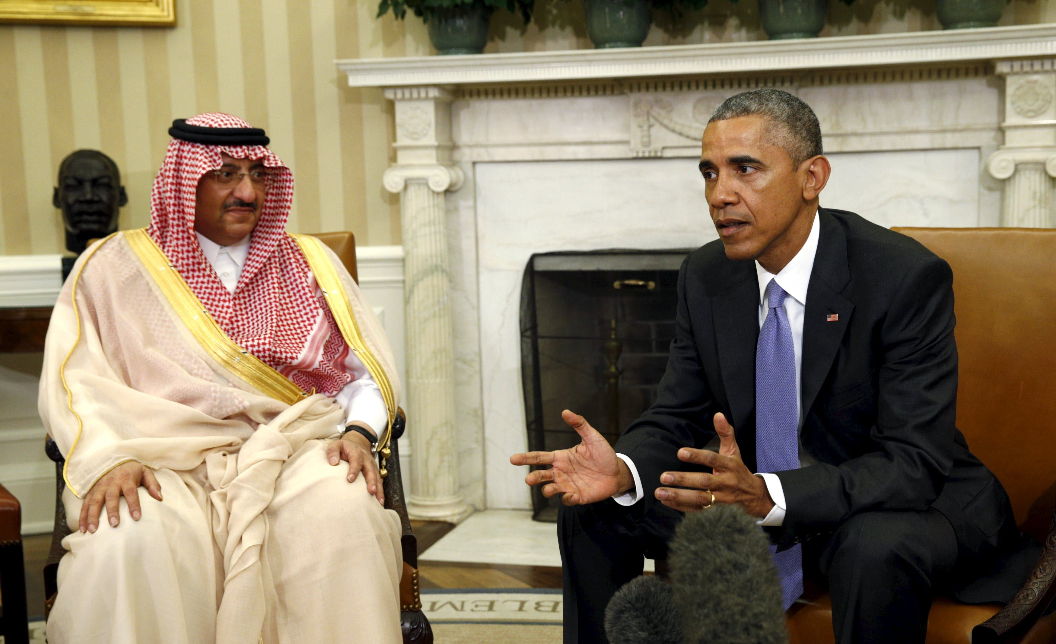 U.S. President Barack Obama meets with Crown Prince Mohammad bin Nayef of Saudi Arabia in the Oval Office of the White House in Washington May 13, 2015. (Reuters)