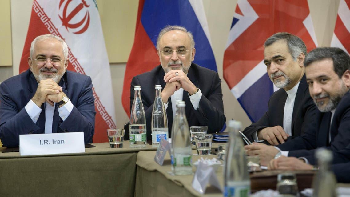 Head of Iranian Atomic Energy Organization Ali Akbar Salehi, second left, Special Assistant to Iranian president Hossein Fereydoun, second right, and Iranian Deputy Foreign Minister Abbas Araghchi. (File: AP)