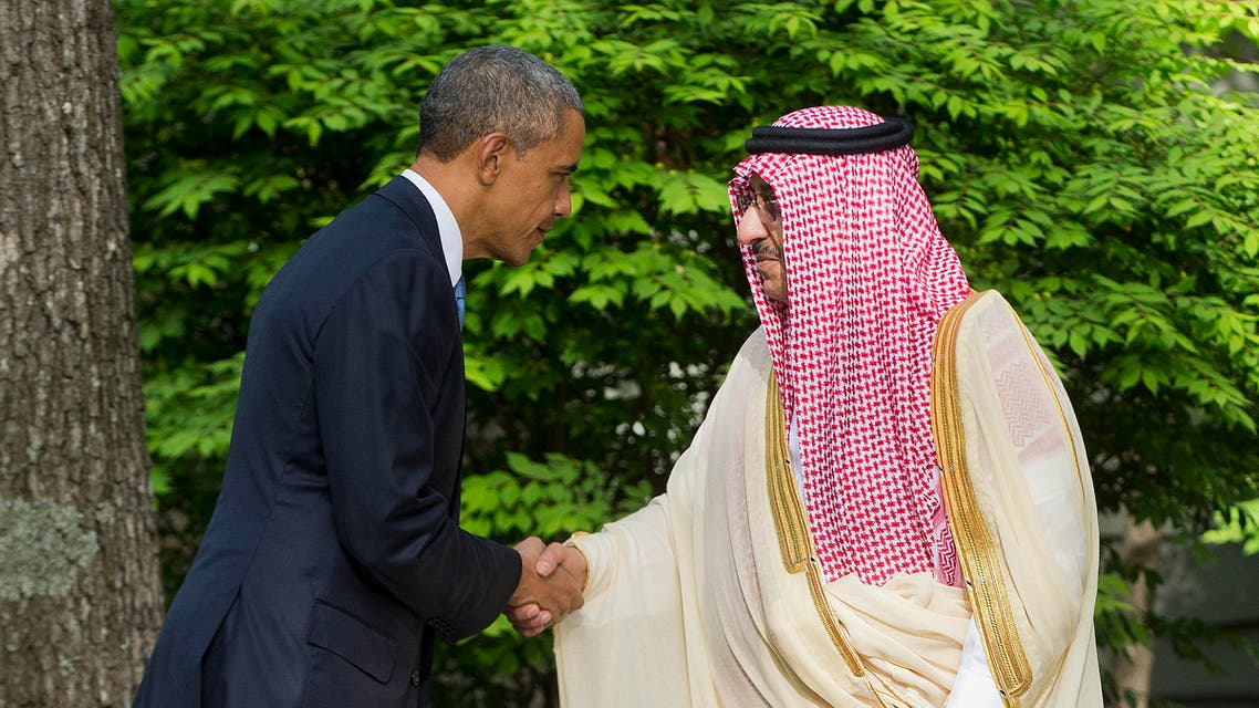 President Barack Obama shakes hands with Saudi Arabia Crown Prince Mohammed bin Nayef after meeting with Gulf Cooperation Council leaders at Camp David in Maryland, Thursday, May 14, 2015. (AP)