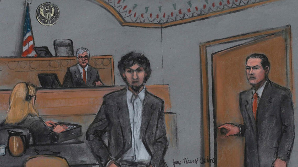 Boston Marathon bomber Dzhokhar Tsarnaev and U.S. District Judge George O'Toole are shown in a courtroom sketch after Tsarnaev was sentenced at the federal courthouse in Boston