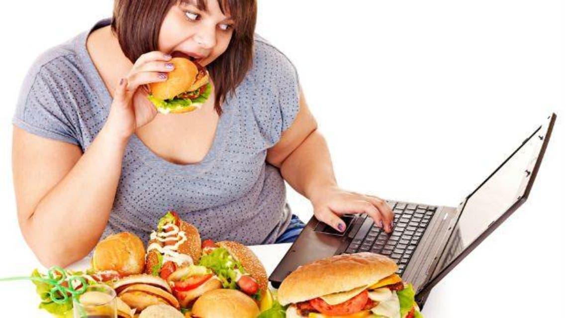 السمنة الوجبات السريعة وجبات سريعة طعام غير صحي اميركا البيرغر بيرغر فتاة  شاشة الحاسوب حاسوب