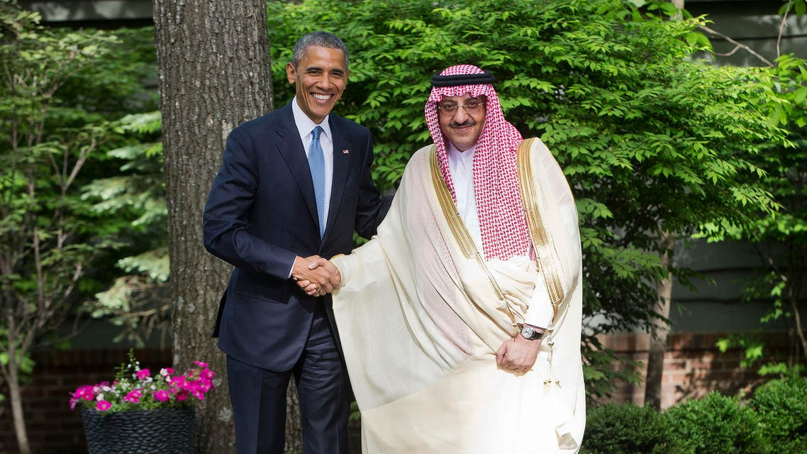 President Barack Obama shakes hands with Saudi Arabia Crown Prince Mohammed bin Nayef after meeting with Gulf Cooperation Council leaders at Camp David in Maryland, Thursday, May 14, 2015. Obama and the leaders from six Gulf nations are trying to work through tensions sparked by the U.S. bid for a nuclear deal with Iran, a pursuit that has put regional partners on edge. (AP Photo/Pablo Martinez Monsivais)