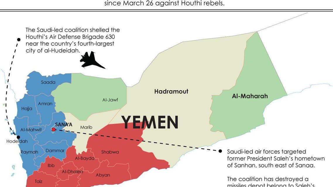 Coalition sweeps Yemen infographic