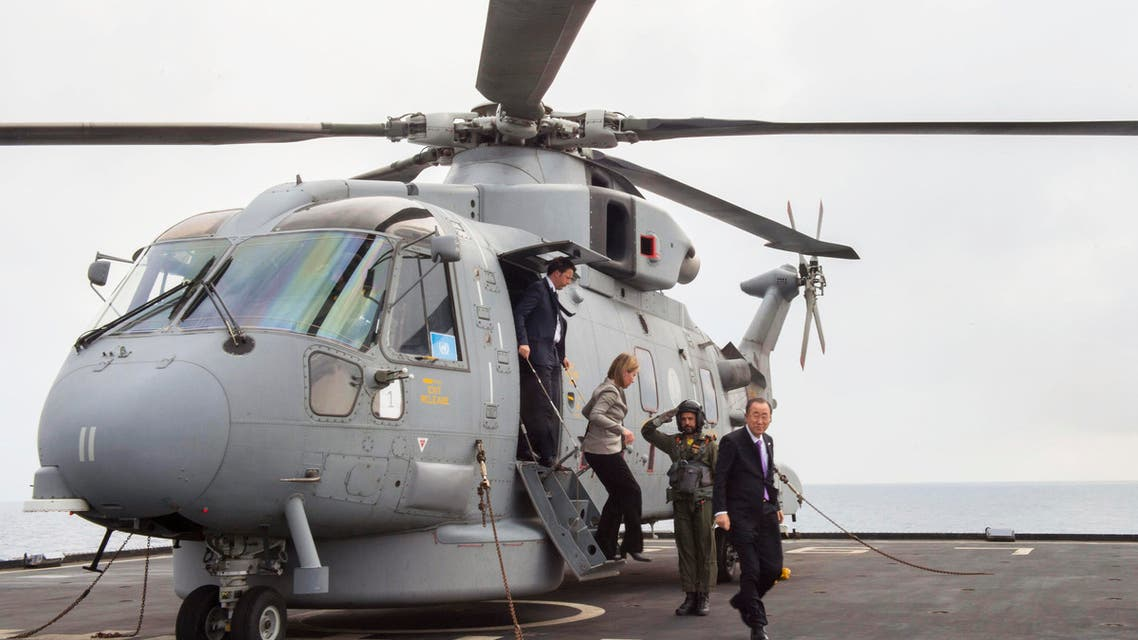 In this photo provided by the Italian Premier's Office, United Nations Secretary General Ban Ki-moon, right, Italian Premier Matteo Renzi, left, and European Union High Representative Federica Mogherini, second left, arrive for a visit to the Italian Navy ship ' San Giusto ', as that sails off the Sicilian coast in the Mediterranean Sea, Monday, April 27, 2015. (AP)