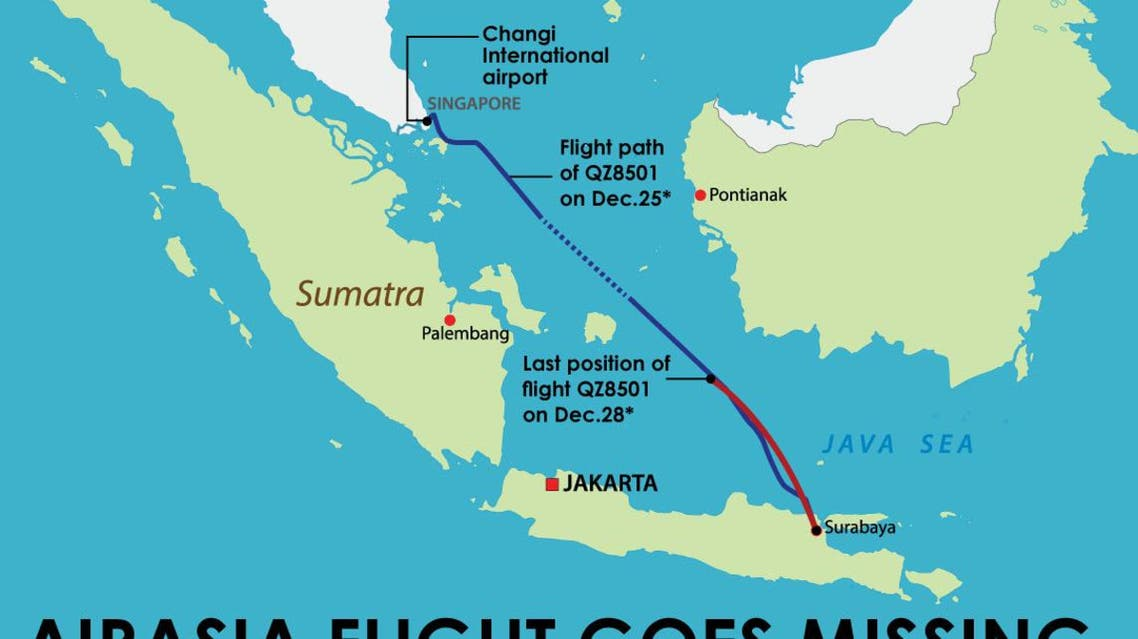 AirAsia flight goes missing infographic