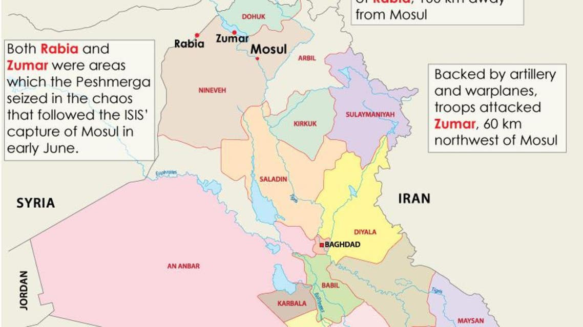 Kurdish forces attack ISIS on three fronts infographic