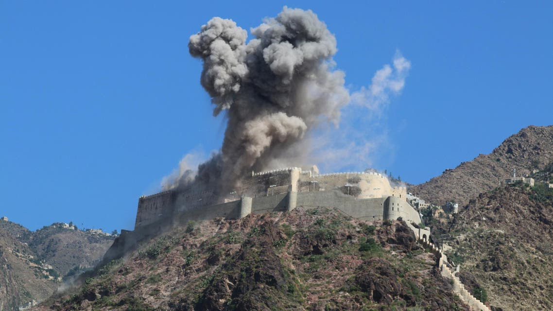 Smoke rises from Al-Qahira castle, an ancient fortress that was recently taken over by Houthis, following a Saudi-led airstrike in Taez city, Yemen, Tuesday, May 12, 2015. (AP)