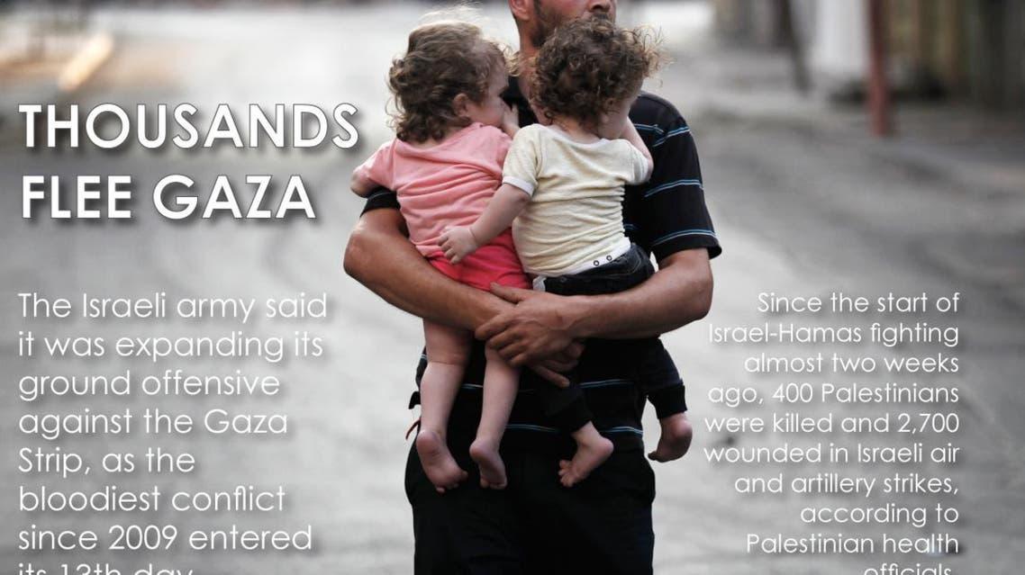 Thousands flee Gaza infographic