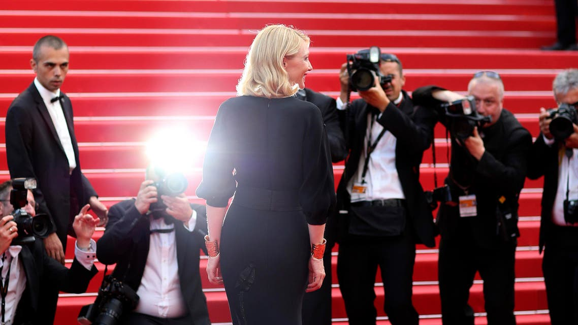 Actress Cate Blanchett poses for photographers as she arrives for the screening of the film Sicario at the 68th international film festival, Cannes, southern France, Tuesday, May 19, 2015. (AP Photo/Thibault Camus)
