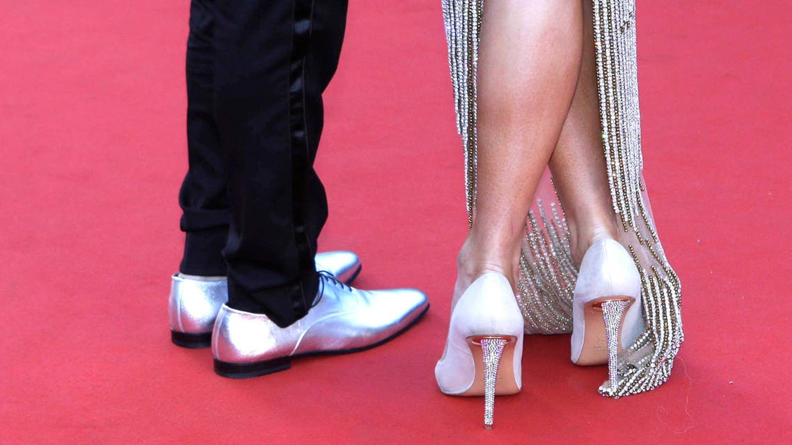 Paris Hilton's shoes at the screening of the film Inside Out at the 68th international film festival, Cannes, southern France, Monday, May 18, 2015. (AP Photo/Lionel Cironneau)