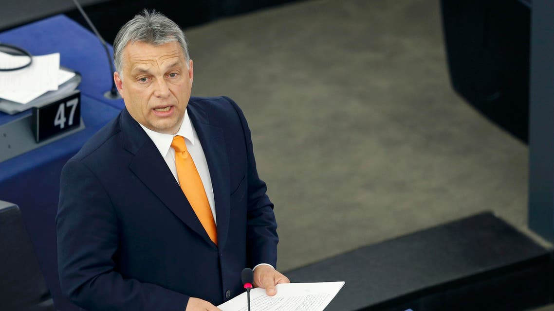 Hungarian Prime Minister Viktor Orban delivers a speech during a debate on the situation in Hungary at the European Parliament in Strasbourg, France, May 19, 2015. REUTERS