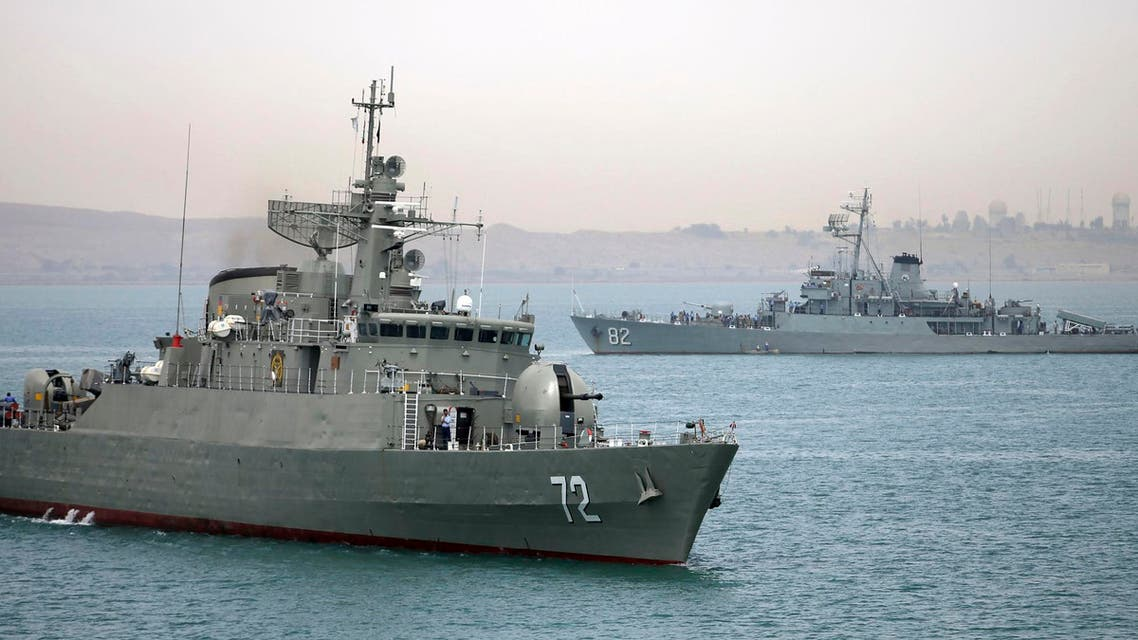 In this picture taken on Tuesday, April 7, 2015, and released by the semi-official Fars News Agency, Iranian warship Alborz, foreground, prepares before leaving Iran's waters. (File Photo:AP)