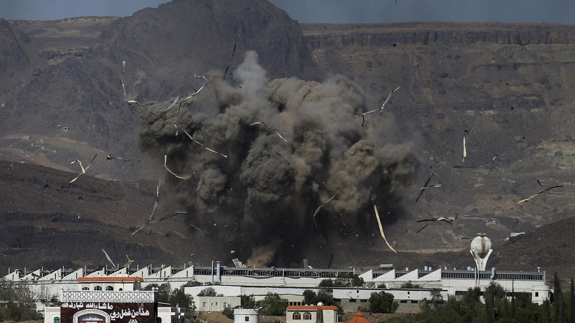 An air strike hits a military site controlled by the Houthi group in Yemen's capital Sanaa. (Reuters)