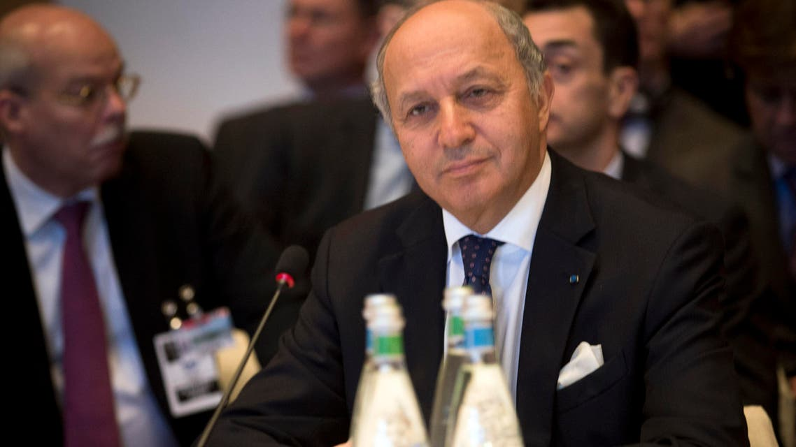 French Foreign Minister Laurent Fabius attends the start of the Syrian peace talks in Montreux, Switzerland, Wednesday, Jan. 22, 2014. AP