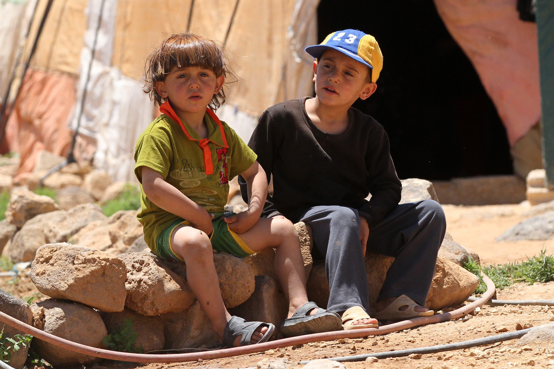 أطفال سوريون في أحد معسكرات اللاجئين