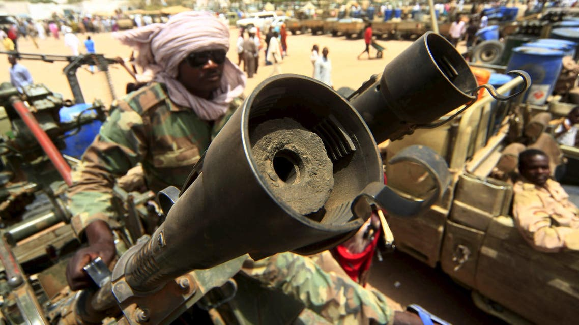Vehicles and weapons of the Justice and Equality Movement (JEM) rebels are seen on display, after victory celebrations by the Sudanese Armed Forces (SAF) and the Rapid Support Forces (RSF), in Niyala Capital of South Darfur, May 4, 2015. REUTERS