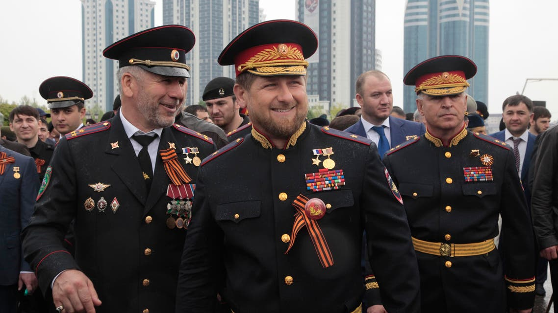 Chechen regional leader Ramzan Kadyrov, center, wearing a Russian military uniform, attends celebrations marking the 70th anniversary of the victory over Nazi Germany, in Chechnya's provincial capital Grozny, Russia. (File: AP)