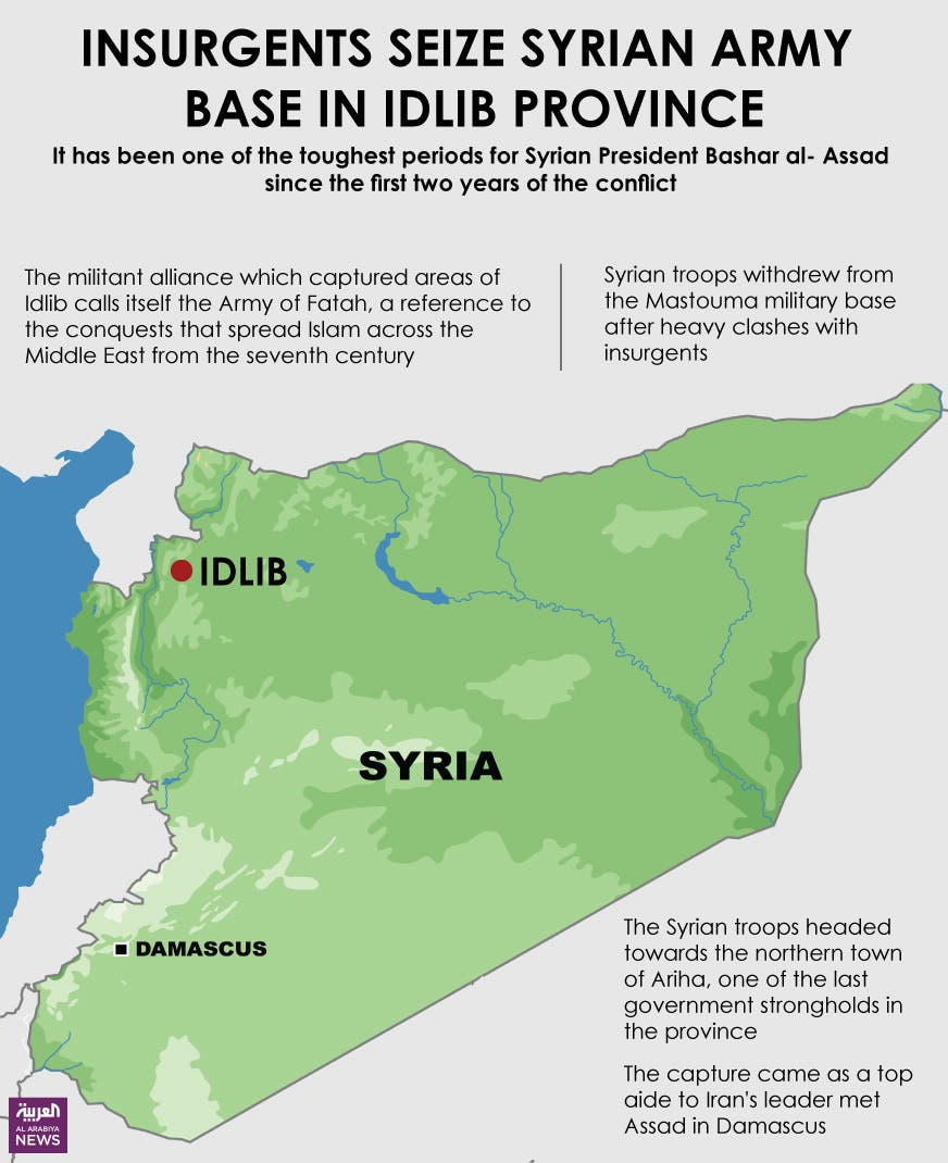 Infographic: Insurgents have seized a Syrian army base in Idlib province