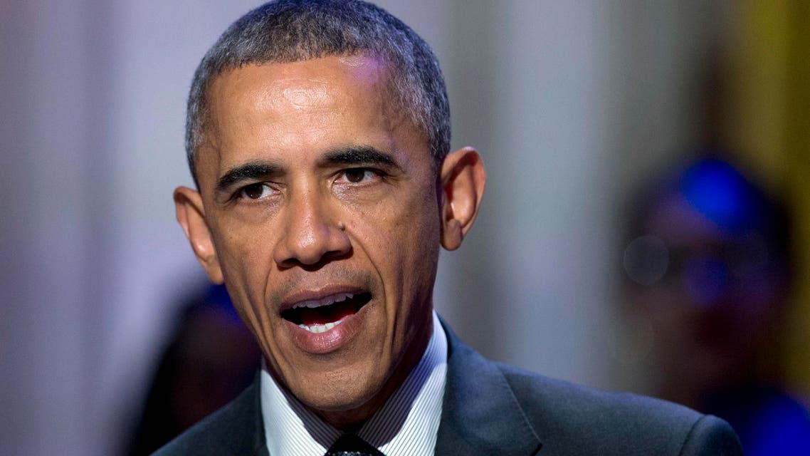 President Barack Obama speaks in the East Room of the White House in Washington. AP