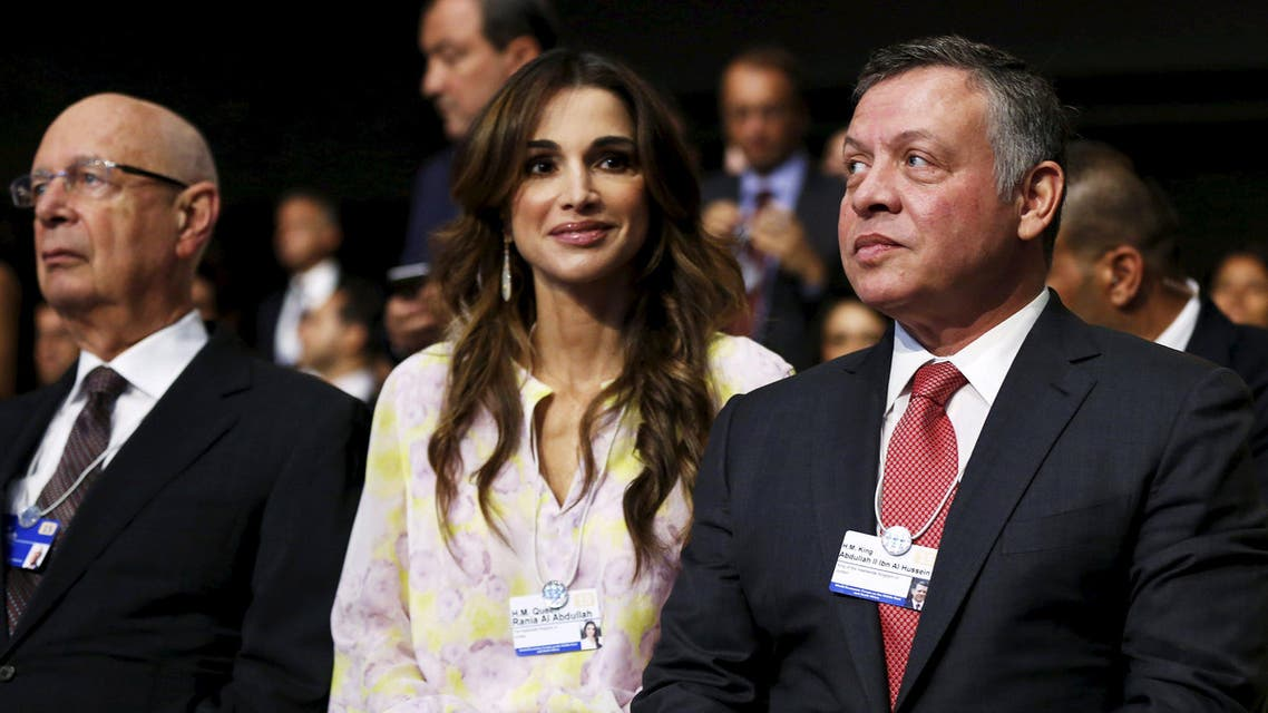 Jordan's King Abdullah (R), Queen Rania, and Klaus Schwab, Founder and Executive Chairman of the World Economic Forum (WEF), attend the World Economic Forum on the Middle East and North Africa at the King Hussein Convention Centre at the Dead Sea May 22, 2015. (Reuters)