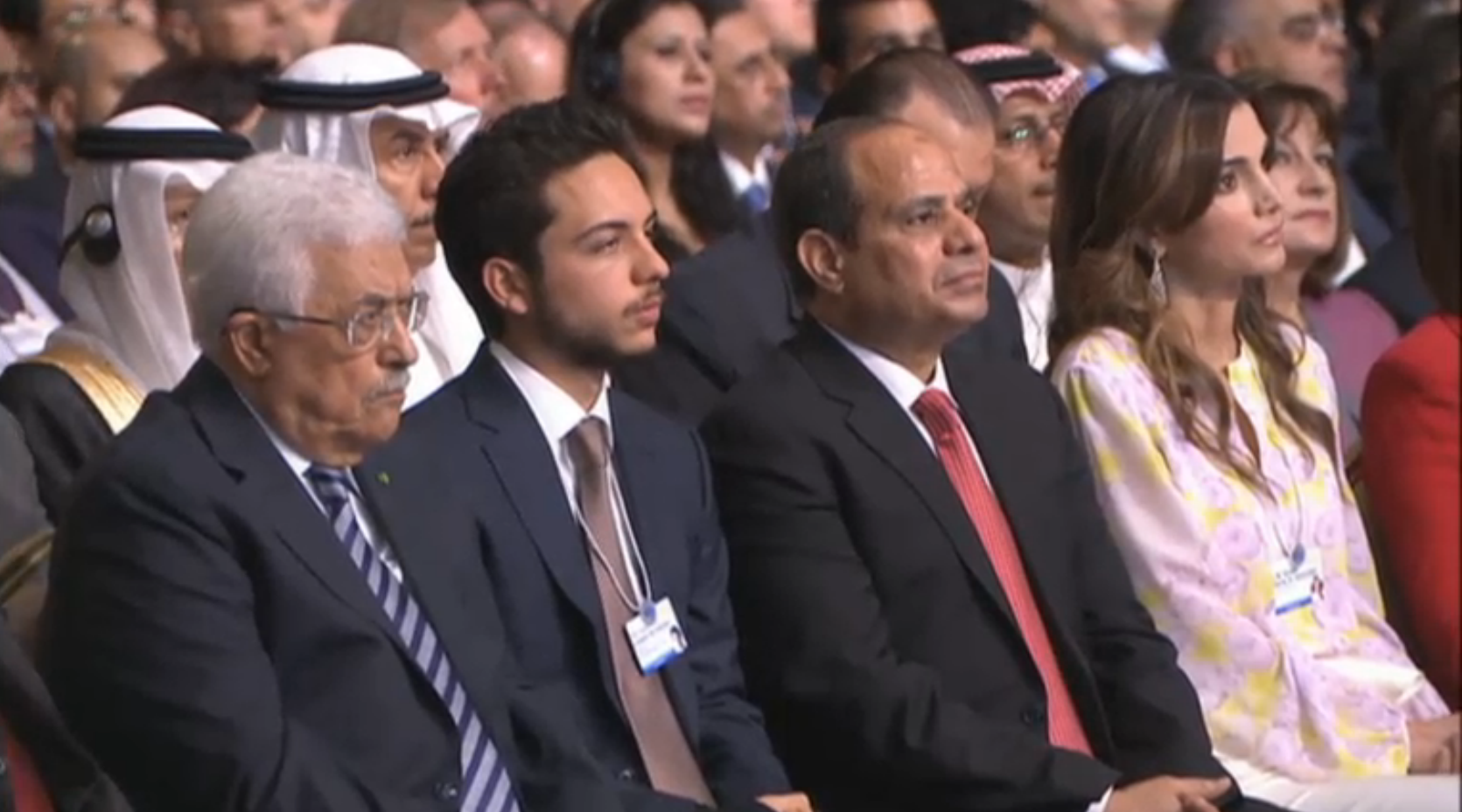 Abdel Fattah El Sisi (second from right), the Egyptian president, and Palestinian political leader Mahmoud Abbas (left) attended the opening of the WEF.