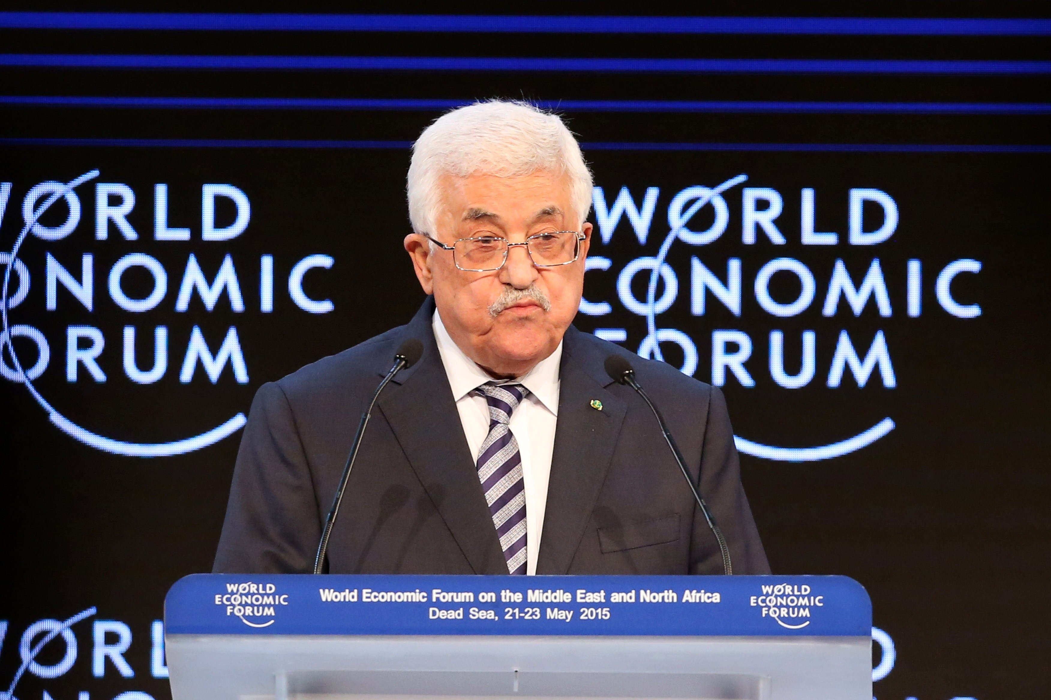 Palestinian leader Mahmoud Abbas gives a speech on the opening day of the World Economic Forum (WEF) on the Middle East and North Africa 2015 on May 22, 2015 in the Dead Sea resort of Shuneh, west of the capital Jordanian Amman. AFP PHOTO / KHALIL MAZRAAWI
