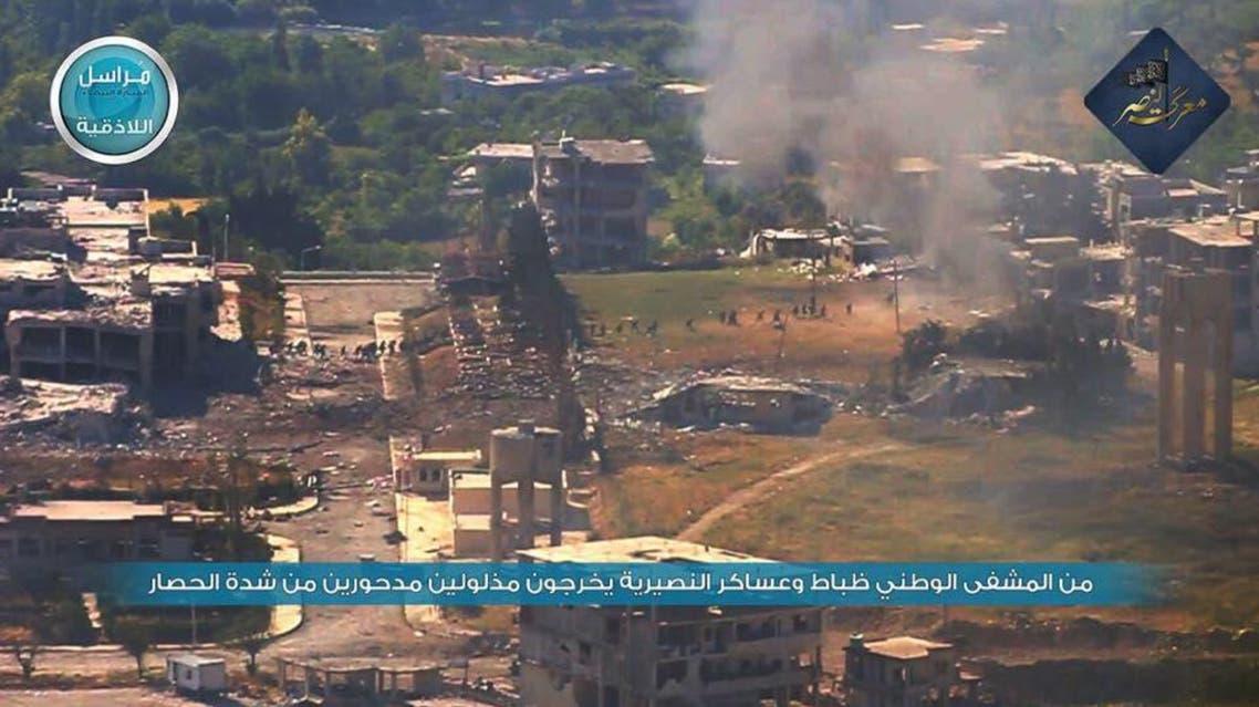 صورة واضحة لهروب جيش نظام الأسد من مشفى جسر الشغور