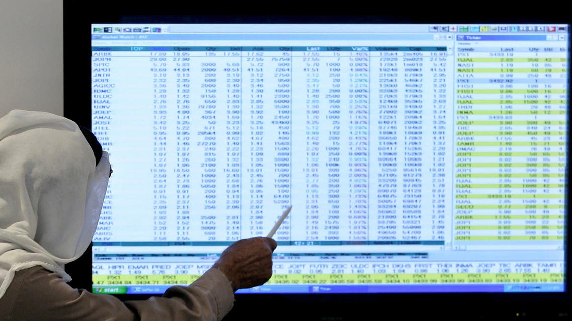 Jordanian trader monitors a screen a the stock exchange market in Amman, Jordan, Tuesday, Oct. 21. 2008. (AP)