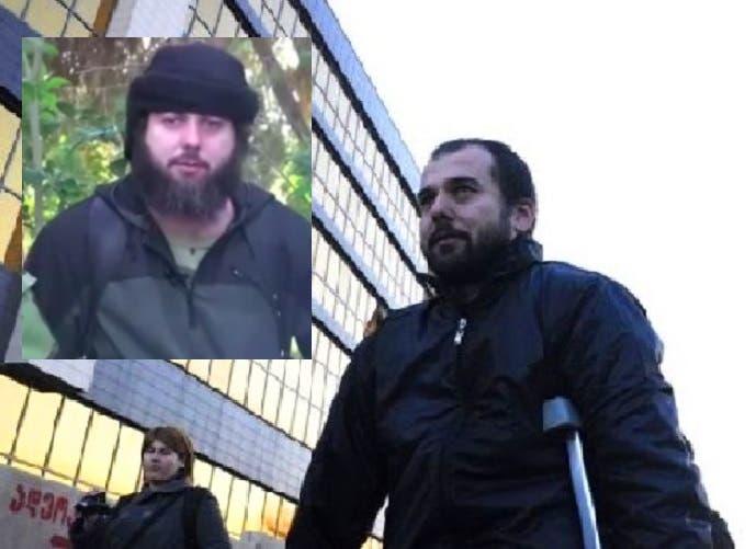 صورتان لناقل الشكوى، أحمد شاتاييف، المبتور القدم واليد، في 2012 بجيورجيا، وداعشي في 2014 بسوريا