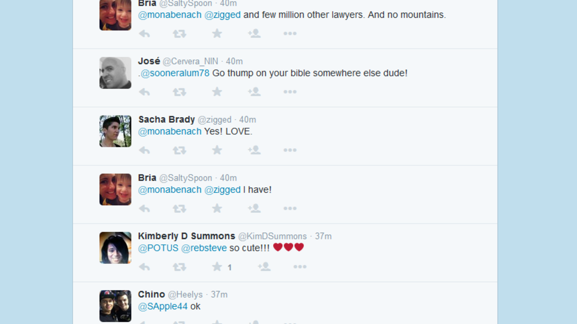 A screengrab of Obama's @POTUS Twitter account shows some of the responses to his Tweets (Screengrab)