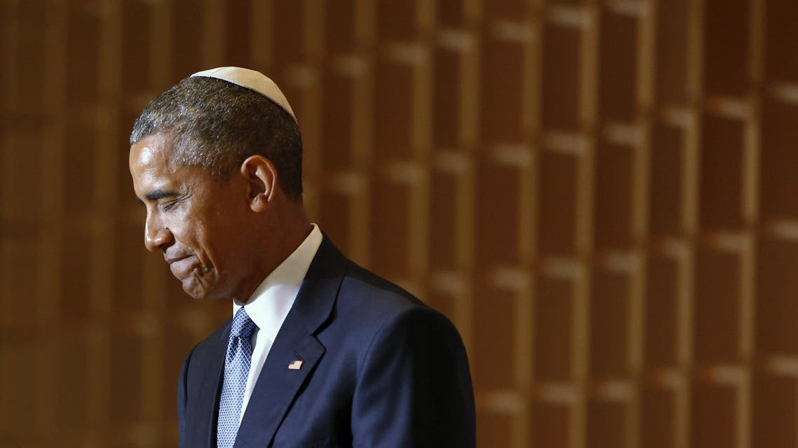 U.S. President Barack Obama pauses during remarks on Jewish American History Month at the Adas Israel Congregation synagogue in Washington May 22, 2015. (Reuters)