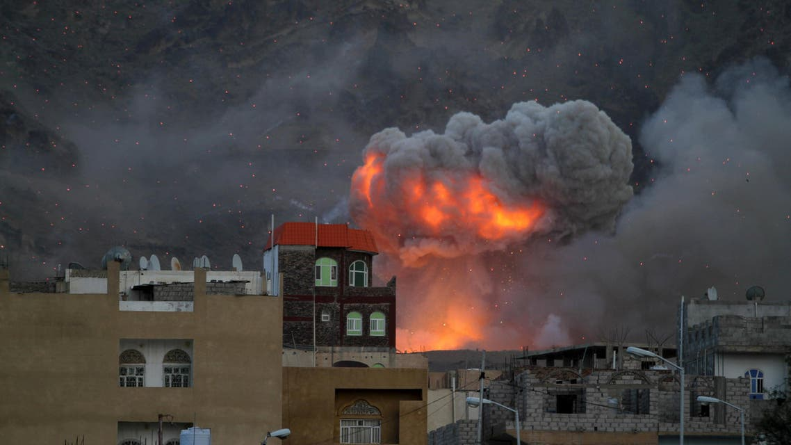 Fire and smoke billows from an army weapons depot after it was hit by an air strike in Yemen's capital Sanaa. (File: Reuters)