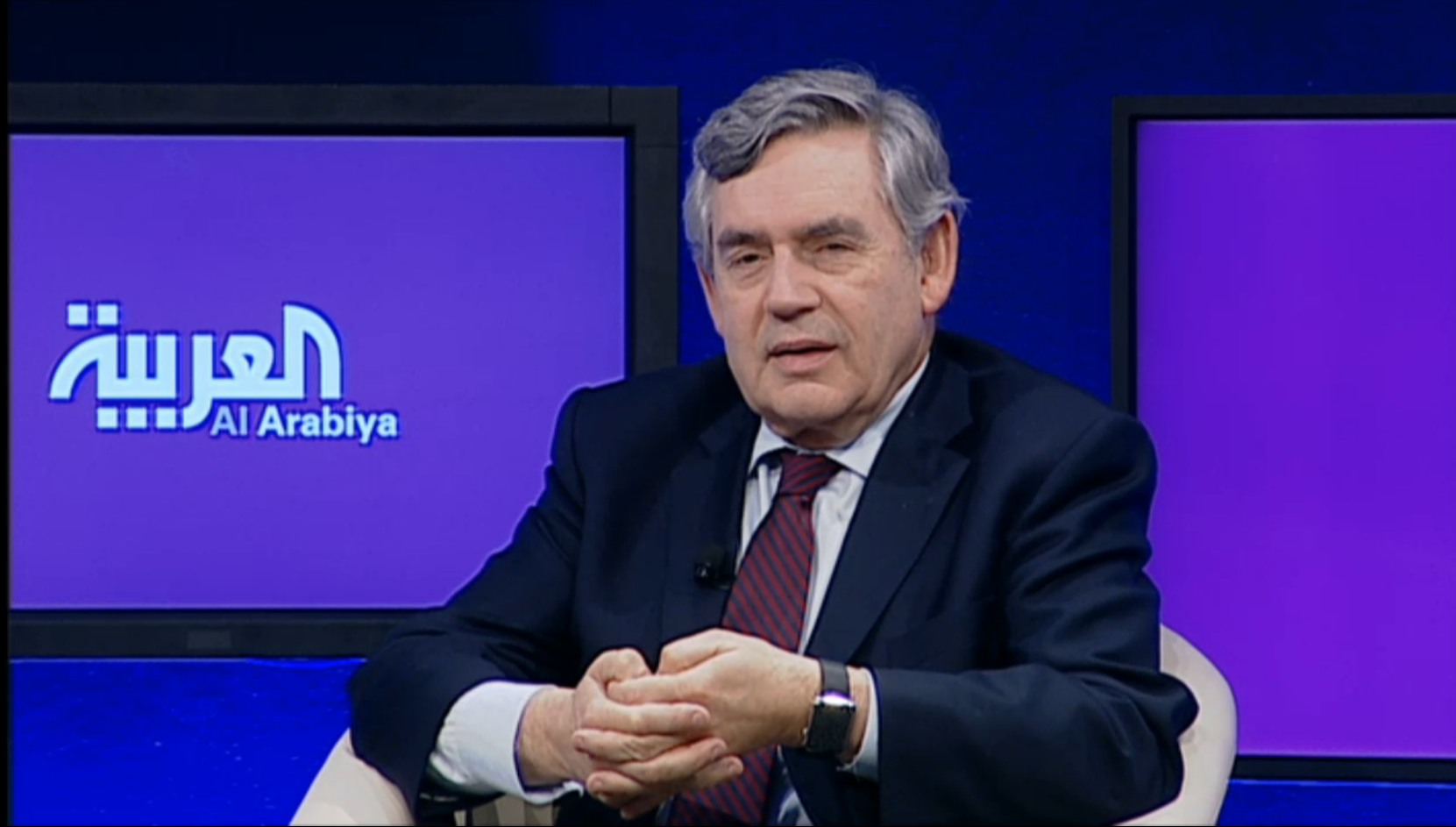 Former UK Prime Minster Gordon Brown at the Al Arabiya News Channel panel discussion. (Photo courtesy: WEF)