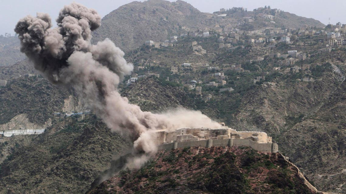 Smoke rises from al-Qahira castle, an ancient fortress that was recently taken over by Shiite rebels, following a Saudi-led airstrike in Taiz city, Yemen, Thursday, May 21, 2015. AP