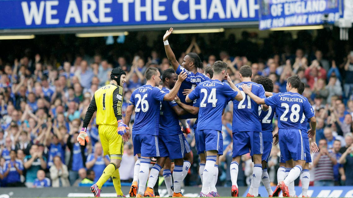 Chelsea's Didier Drogba is carried from the pitch by his teammates during the English Premier League soccer match between Chelsea and Sunderland at Stamford Bridge, London, Sunday, May 24, 2015. (AP Photo/Tim Ireland)