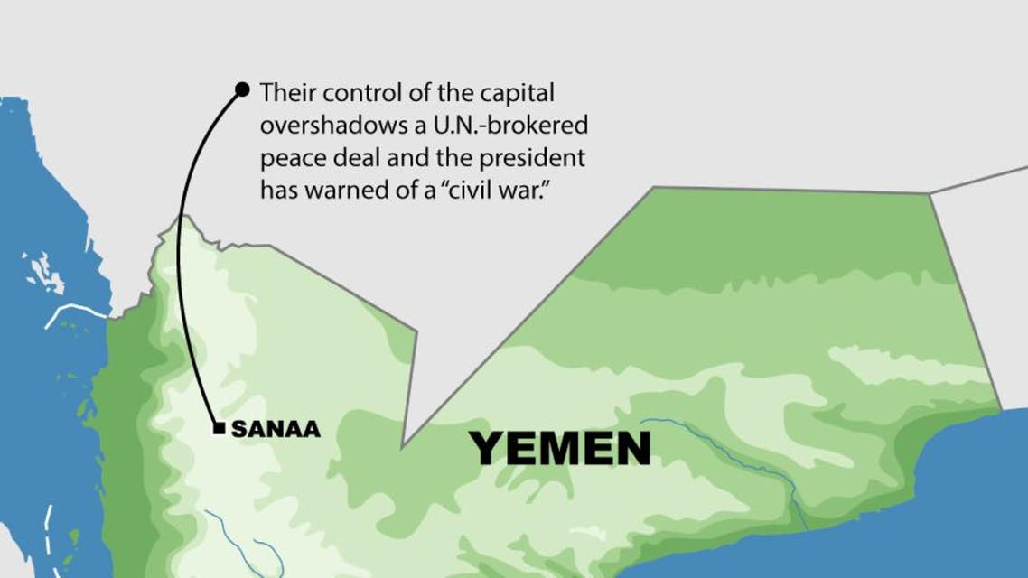 Houthi rebels in near-total control of Yemen capital infographic