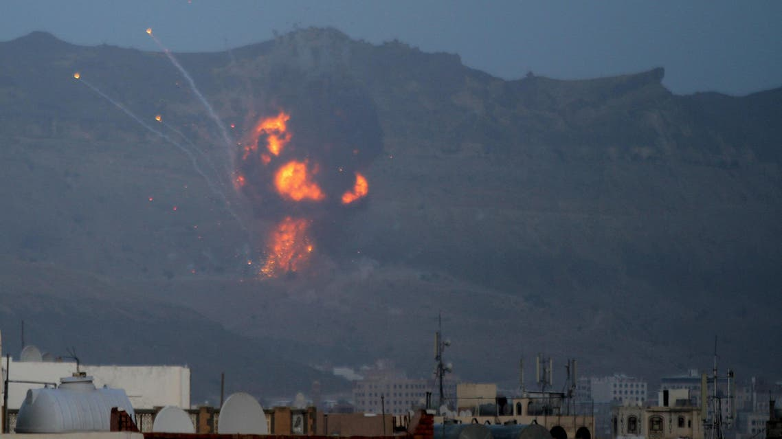 An explosion is seen from the Noqum Mountain after it was hit by an air strike in Yemen's capital Sanaa. (Reuters)