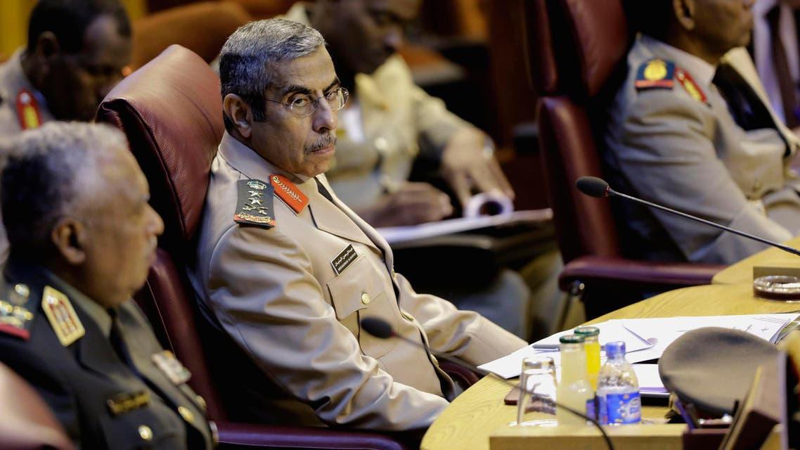 Saudi Armed Forces chief of staff General Lt. Gen. Abdulrahman Al-Banyan, second left, chairs his delegations during the opening session of the Arab military chiefs meeting at the Arab League headquarters, in Cairo, Egypt, Wednesday, April 22, 2015. (AP)