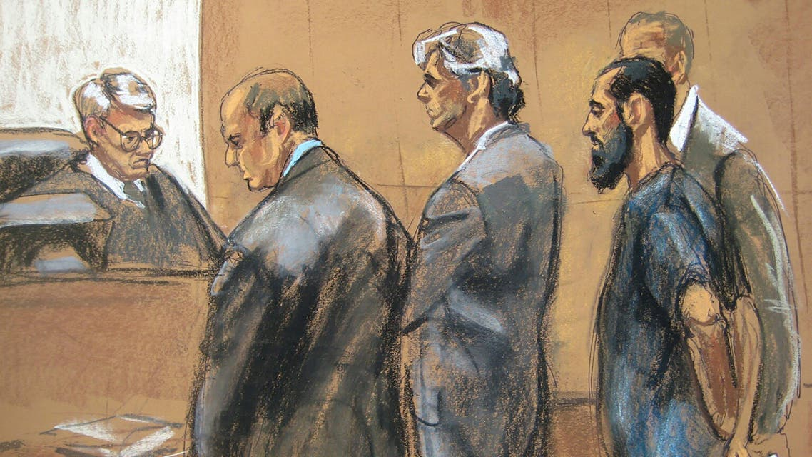 A courtroom sketch shows Saddiq al-Abbadi (R) as he pleads guilty during a hearing in Brooklyn federal court in New York May 26, 2015. (Reuters)