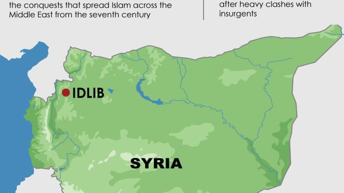 Insurgents seize Syrian army base in Idlib province infographic