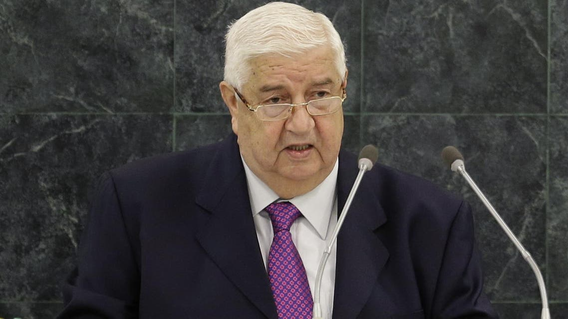 Syrian Deputy Prime Minister Walid al-Moualem speaks during the 68th session of the General Assembly at United Nations headquarters, Monday, Sept. 30, 2013. (AP Photo/Seth Wenig)