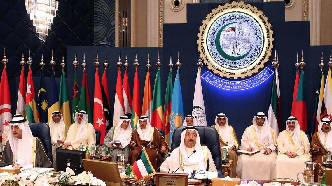 Emir of Kuwait Sheikh Sabah al-Ahmad al-Jaber al-Sabah (C) chairs the opening of the 42nd Session of the Council of Foreign Ministers (CFM) of the Organization of Islamic Corporation (OIC), at Bayan palace in Kuwait City on May 27, 2015. (AFP)