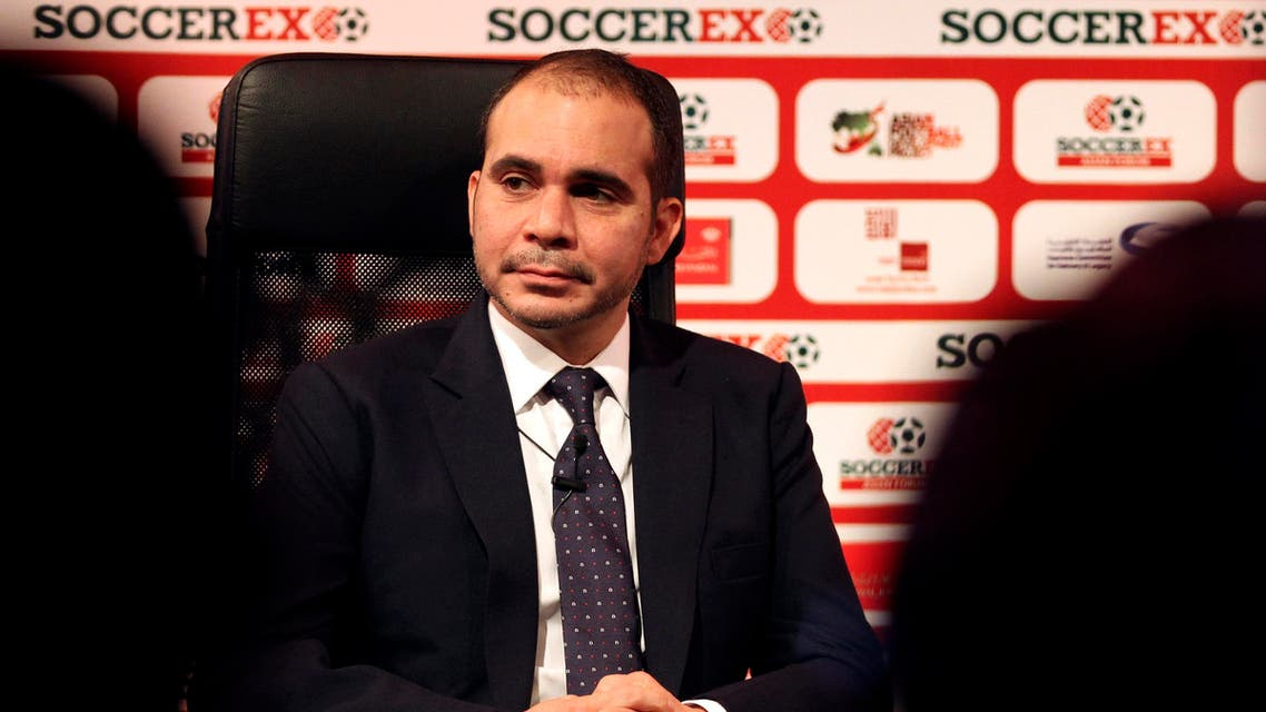 FIFA presidential candidate, Jordan's Prince Ali, who is an outgoing FIFA vice president, attends the opening of the Soccerex Asian Forum, in Southern Shuneh, Jordan, Sunday, May 3, 2015. AP