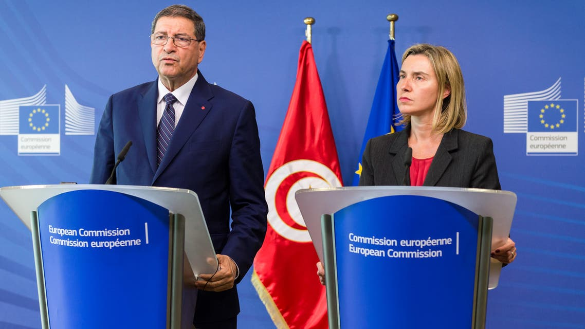 European Union Foreign Policy Chief Federica Mogherini, right, participates in a media conference with Tunisian Prime Minister Habib Essid at EU headquarters in Brussels on Wednesday, May 27, 2015. (AP)