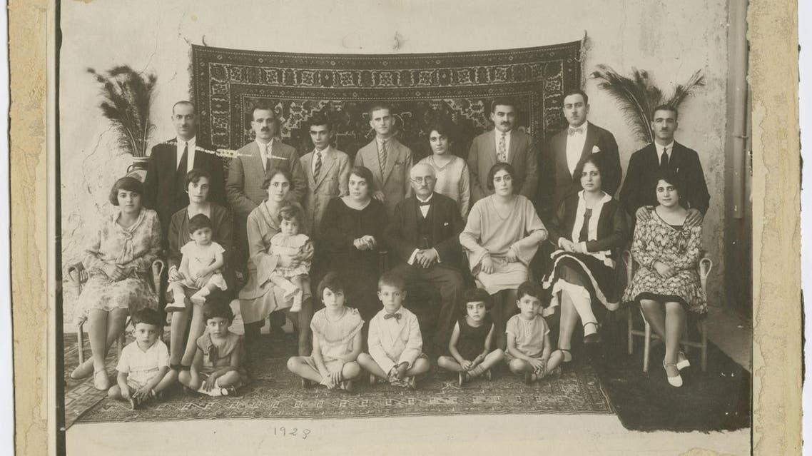 The annual photo of the Spridon Sarouf family. Jaffa, 1928. From the family album of Abla & Alfred Tubasi