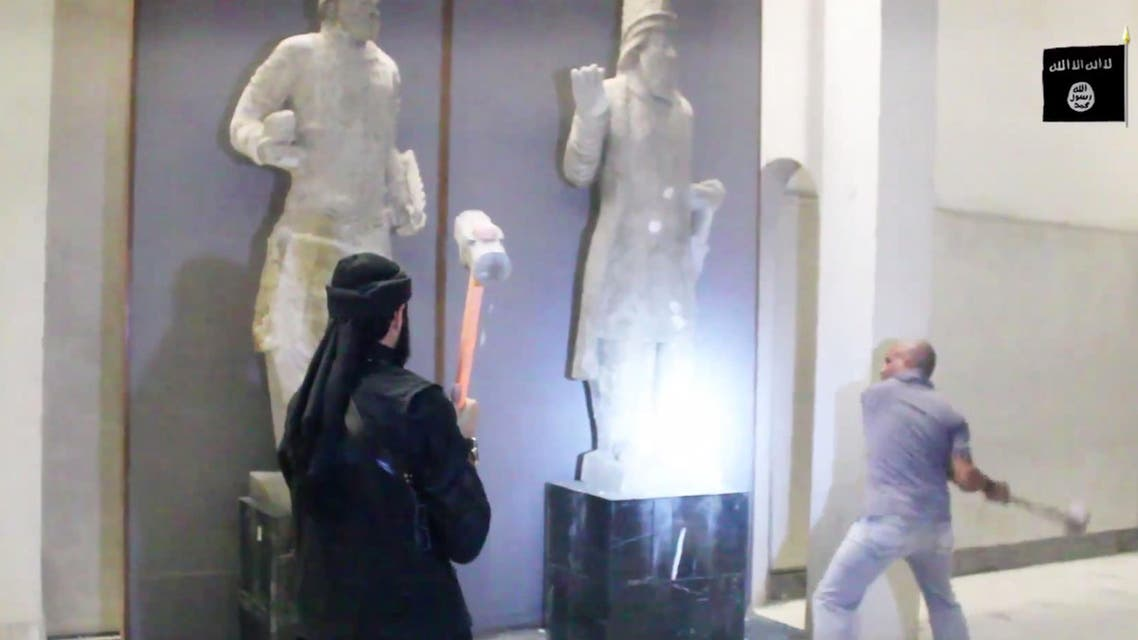 ISIS militants attack ancient artifacts with sledgehammers in the Ninevah Museum in Mosul, Iraq. (File Photo: AP)