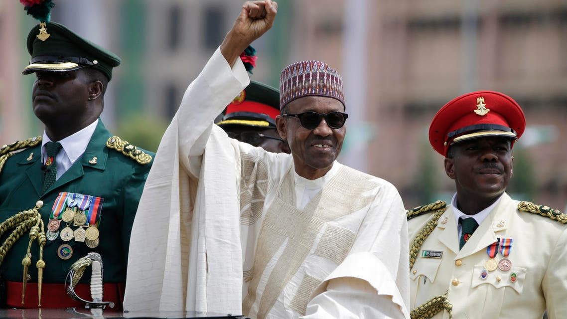 New Nigerian President, Muhammadu Buhari, salutes his supporters during his Inauguration in Abuja, Nigeria, Friday, May 29, 2015. (AP)