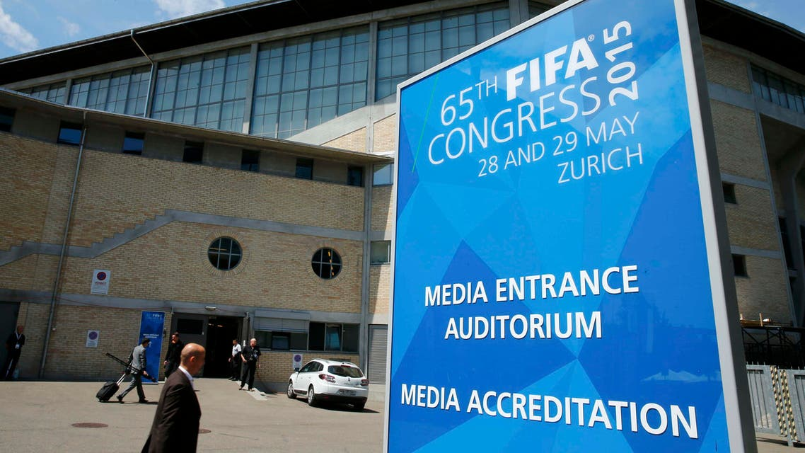 A sign is pictured outside the Hallenstadion during the 65th FIFA Congress in Zurich, Switzerland, May 29, 2015. REUTERS/Ruben Sprich