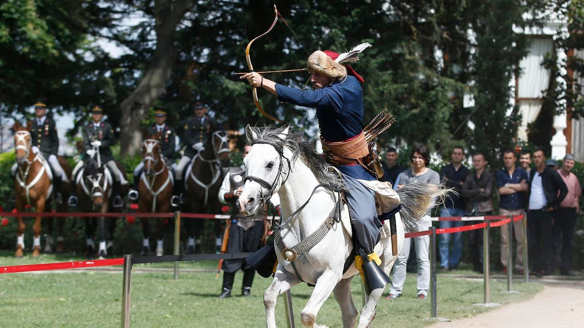 A rider performs during an event to commemorate the anniversary of city's conquest by the Ottoman Turks at the Topkapi Palace in Istanbul, Turkey, Friday May 29, 2015. (AP)