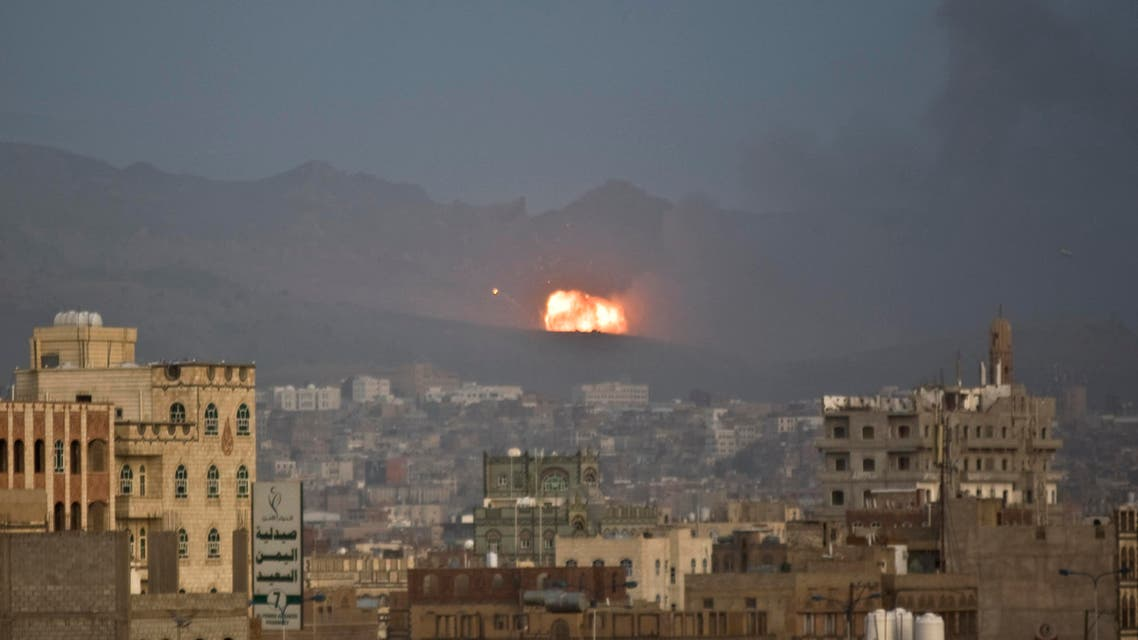 Flames and smoke rise after a Saudi-led airstrike hit a site believed to be one of the largest weapons depot on the outskirts of Yemen's capital, Sanaa. AP